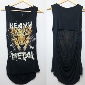 The Classic Heavy Metal Cheetah Open Back Tank